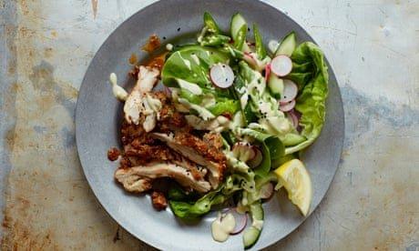 Chicken shawarma salad with tahini dressing recipe