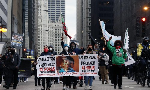 Video appears to show Chicago police shooting Adam Toledo, 13, as he raised his hands