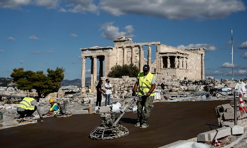 Acropolis now: Greeks outraged at concreting of ancient site