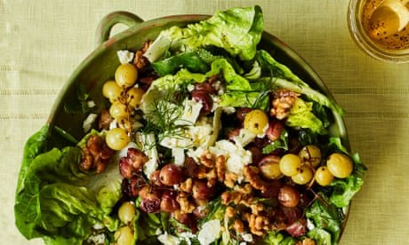 Nik Sharma's recipes for roast grape, cheese and walnut salad and lime sorbet with a Thai twist