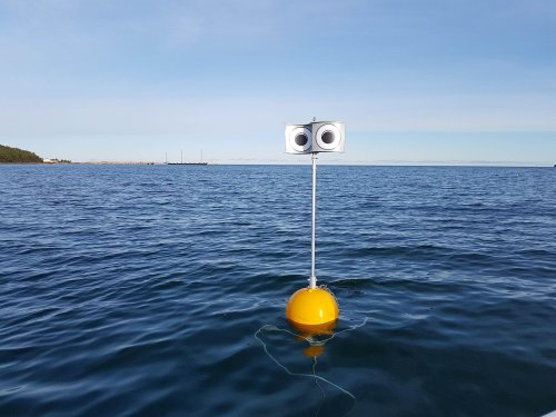 Floating 'Wall-E' scarecrow stops seabirds diving into fishing nets