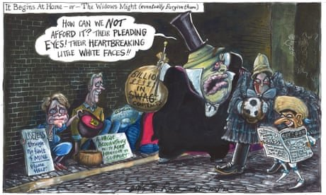 Martin Rowson on MPs backing £4bn cut to foreign aid budget — cartoon