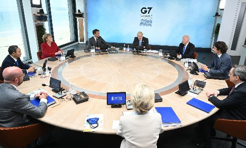G7: Boris Johnson appears to repudiate Tory austerity at summit opening