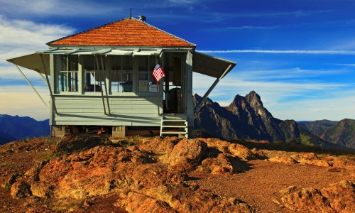 Peak cabin: a fire-spotter's lonely vantage point in Washington state