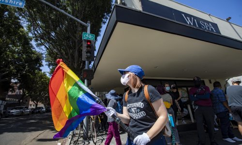 Dozens arrested in Los Angeles as anti-trans protest outside spa turns violent