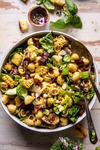 Pesto Chicken, Corn, and Avocado Bacon Pasta Salad.