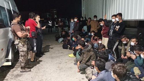 Minibüste balık istifi taşınan 66 kaçak göçmen yakalandı
