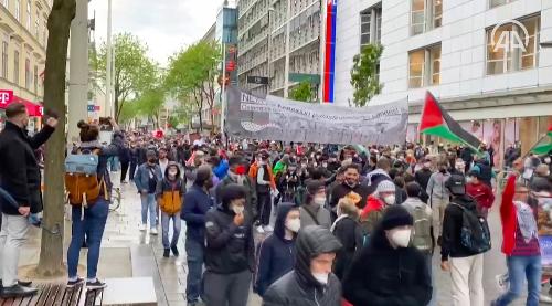 Avusturya'da İsrail'in Filistin'e yönelik saldırıları protesto edildi