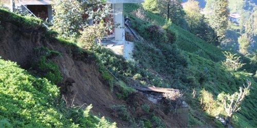 Rize'de yağışın ardından heyelan meydana geldi