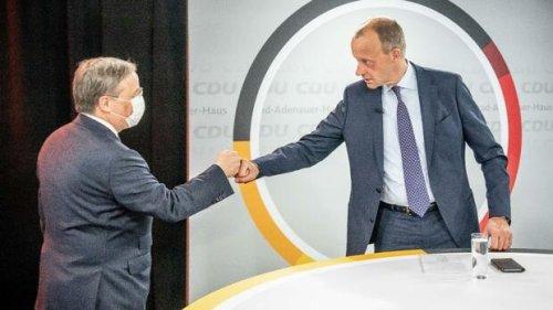 Laschet und Merz werben gemeinsam für Innovationen nach Corona-Krise