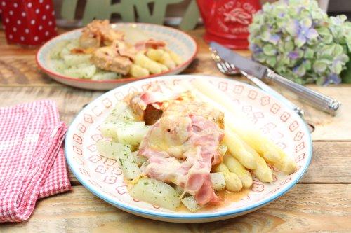 Ofen-Lendchen mit Spargel und Butter-Kräuterkohlräbchen