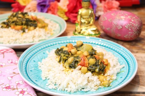 Mangold-Kichererbsen-Curry mit Kokos-Blumenkohlreis