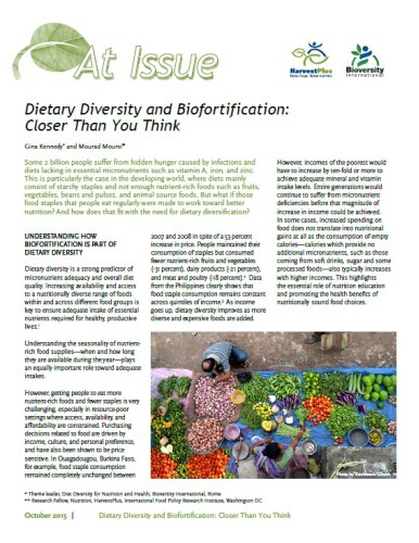 Dietary Diversity and Biofortification: Closer Than You Think