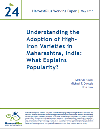 Understanding the Adoption of High-Iron Varieties in Maharashtra, India: What Explains Popularity?
