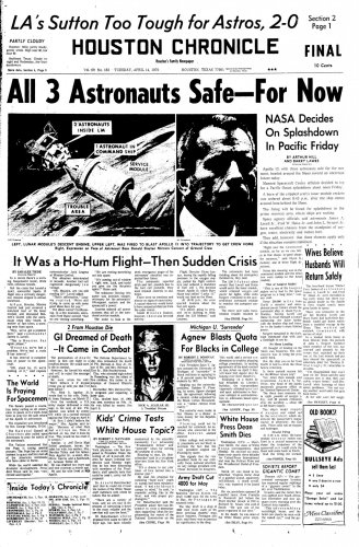 April 14, 1970: Front page captures Apollo 13 drama