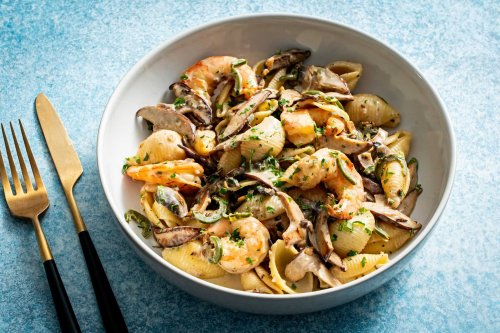 Creamy cognac mushroom sauce adds a little luxe to weeknight pasta bowls