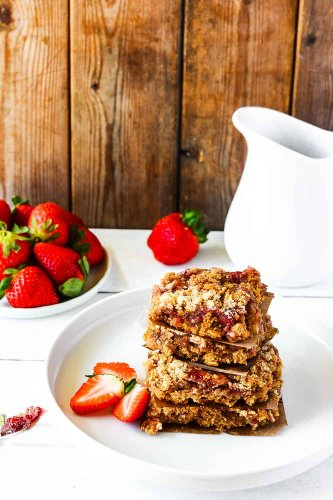 Gluten-Free Vegan Strawberry Oat Bars - Healthier Steps