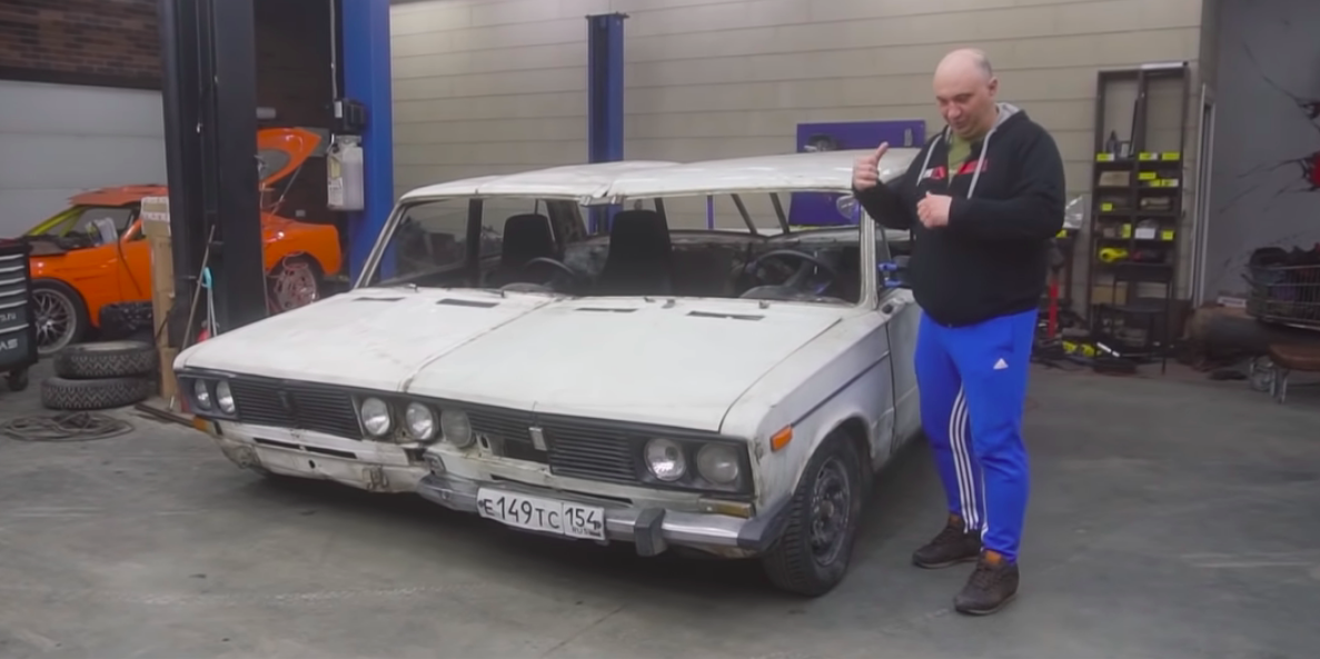Watch Two Cars Become One Ultra-Wide-Body Lada