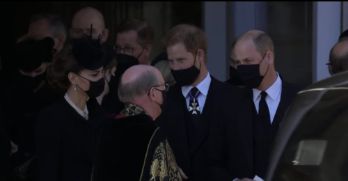 Prince William and Prince Harry walk side by side after Prince Philip's funeral