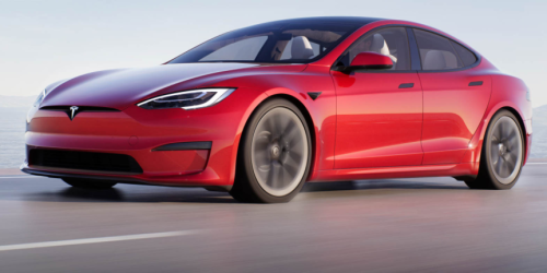 Elon Musk Celebrates the Production Rollout of the Tesla Model S Plaid