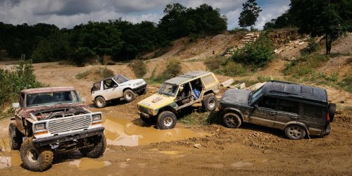 The Battle of the Off-Road Beaters: Ford F-150 Custom vs. Geo Tracker, Jeep Cherokee, Land Rover Discovery