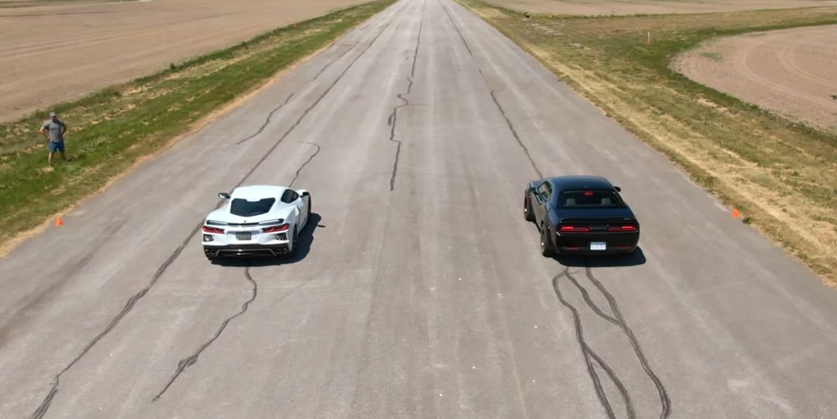 USA! USA! C8 Corvette Drag-Races a Dodge Demon