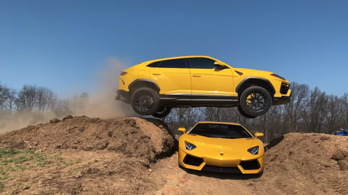 YouTuber Who Destroyed Ram TRX Tempts Fate, Jumps Lamborghini Urus Over Aventador