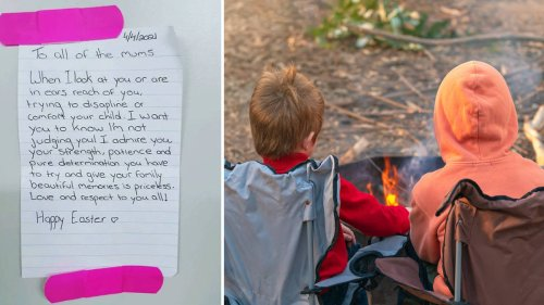 Mum finds heartwarming note written by stranger while on holiday with her kids