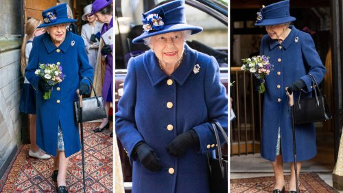 The Queen pictured using walking stick for first time in 17 years