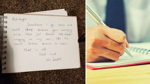 Woman finds brutal teacher's message about her 'annoying voice' in old school leaving book