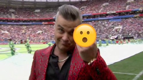 Robbie Williams shocks viewers as he flips the finger during World Cup performance