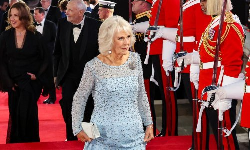Duchess Camilla's Princess Elsa moment at Bond premiere in Bruce Oldfield gown