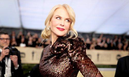 Nicole Kidman stuns in sheer gold gown as she highlights endless legs