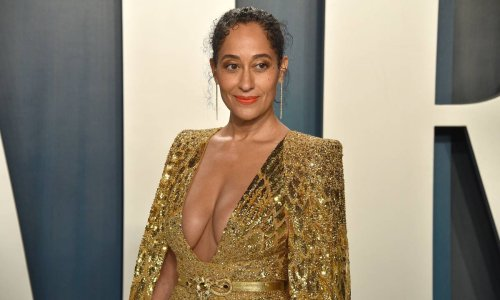 Tracee Ellis Ross wows in a strapless jumpsuit for an exciting announcement