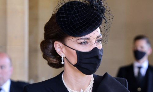 Kate Middleton sports the Queen's meaningful earrings at Prince Philip's funeral
