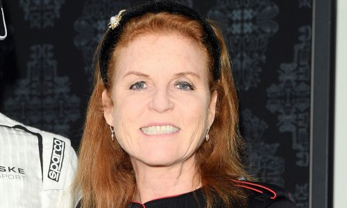 Sarah, Duchess of York wears designer shoes with a moving message behind them