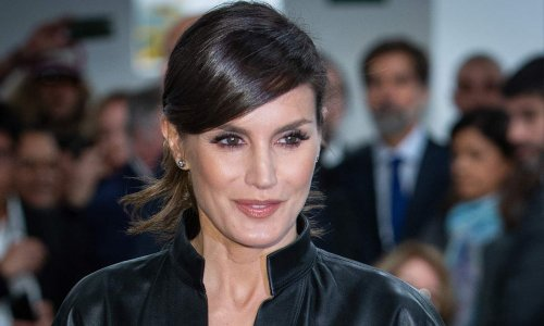 Queen Letizia turns heads in edgy leather dress