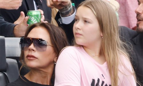 Victoria Beckham and Harper twin in the chicest little black dress
