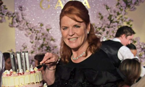 Sarah Ferguson looks SO excited by her birthday cake - see photo
