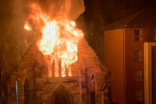 WATCH: Devastating moment Glasgow church roof collapses during fire