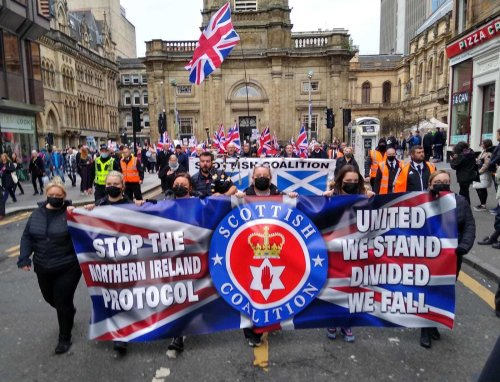 Unionist groups march against Northern Ireland Protocol in Glasgow