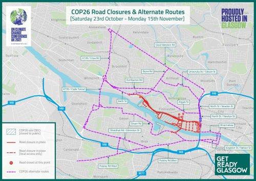 COP26 road closures in full as major disruption starts tomorrow