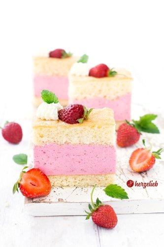 Erdbeerschnitten Rezept – toller, erfrischender Erdbeerkuchen