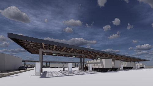 This electric truck stop won't offer gas or diesel—just 25 MW of solar-supplemented charging