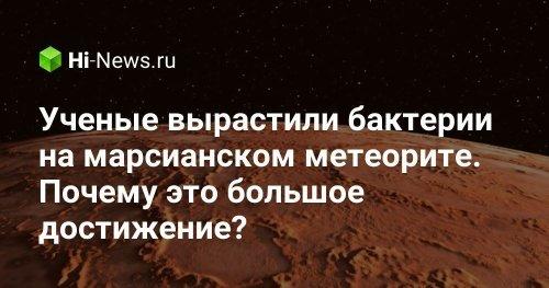 Ученые вырастили бактерии на марсианском метеорите. Почему это большое достижение? - Hi-News.ru