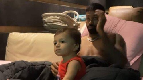 Natasa Stankovic films Hardik Pandya and son Agastya as they enjoy cartoons, watch