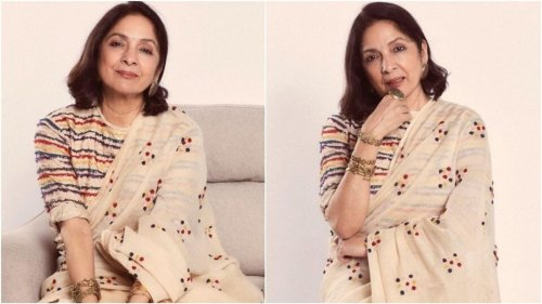 Neena Gupta champions timeless handlooms in saree embroidered with rainbow hues