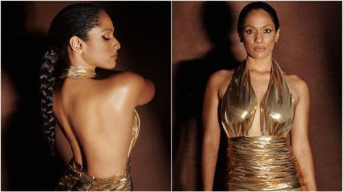 Masaba Gupta in backless halter-neck gold gown is nothing short of a supermodel