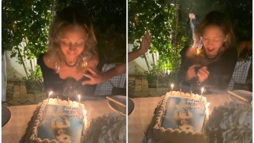 Nicole Richie screams in horror as her hair catches fire at birthday party, watch