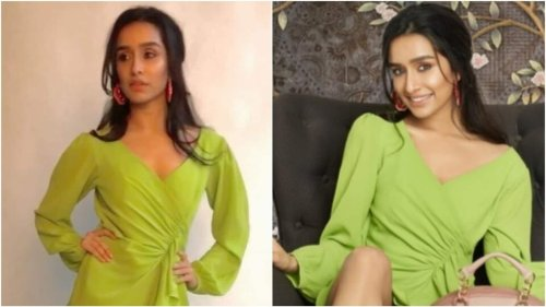 Shraddha Kapoor adds a chic touch to mini wrap dress with ₹55k pumps for shoot